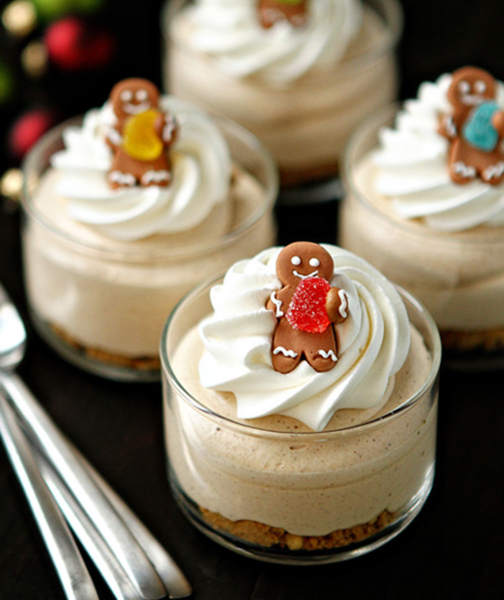 Recipes For Christmas Desserts  Gingerbread Oreo No Bake Mini Cheesecakes