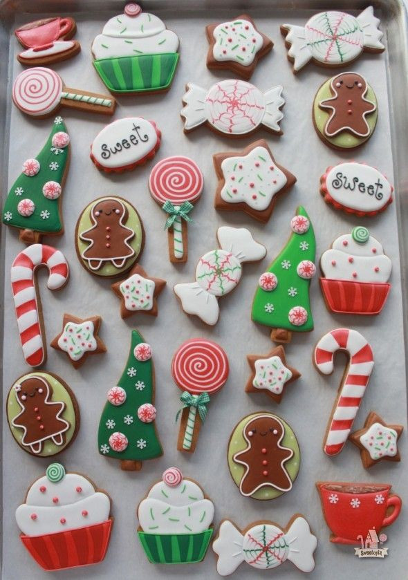Royal Icing Christmas Cookie  Red and Green Cute Candy Cutout cookies with Royal