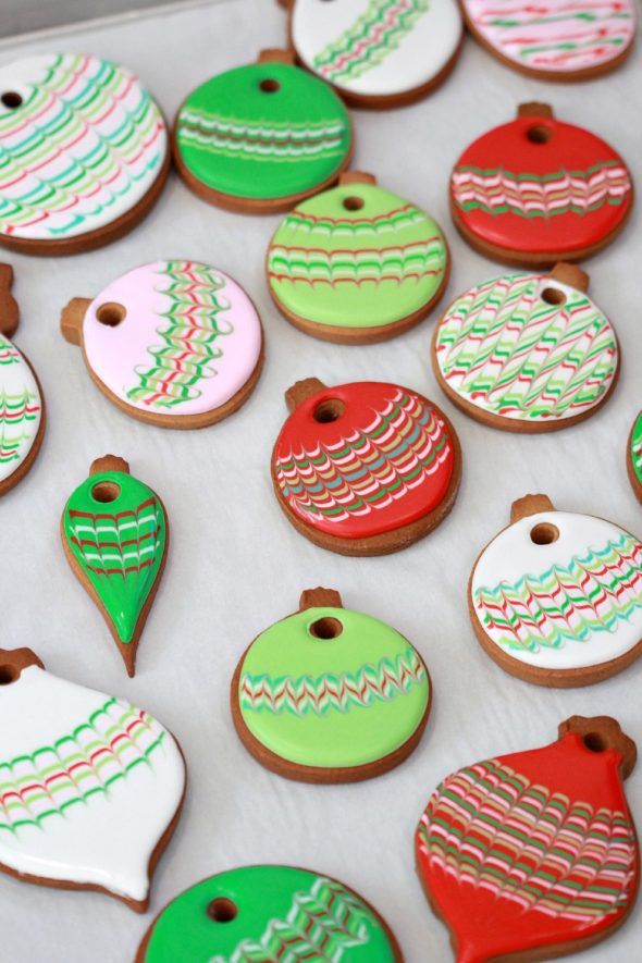 Royal Icing Christmas Cookie  Marbled Christmas Ornament Cookies