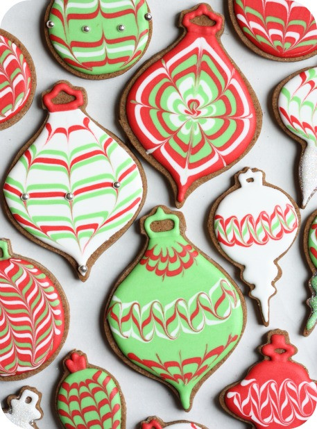 Royal Icing Christmas Cookie  Video How to Marble or Swirl Royal Icing
