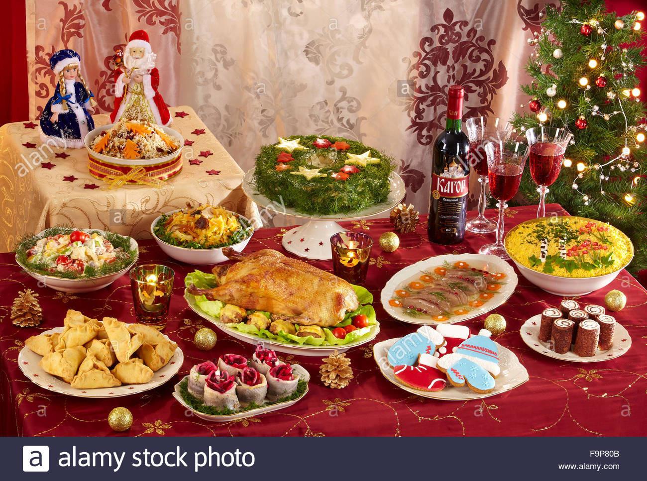 Russian Christmas Dinners  Russian Christmas menu Stock Royalty Free Image