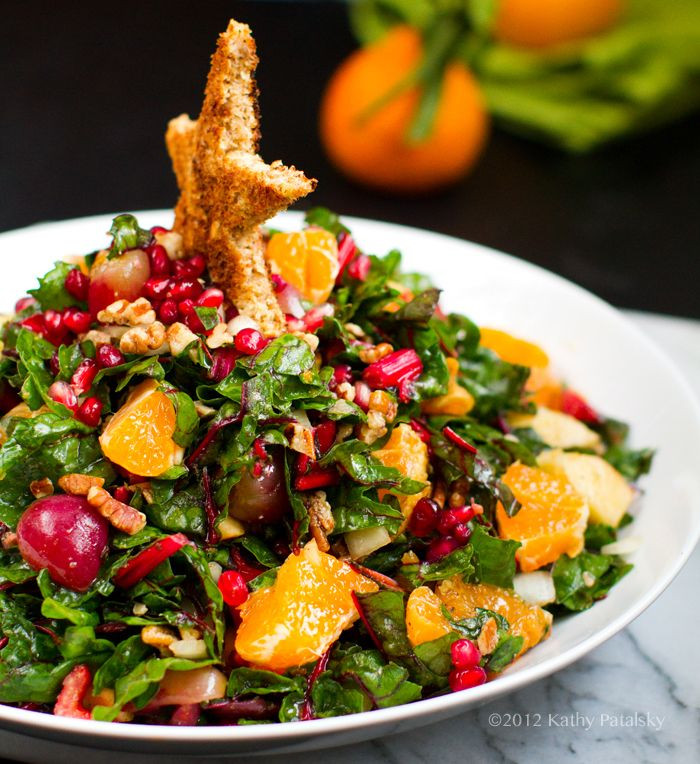 Salads For Christmas  Swiss Chard Pecan Pomegranate Salad Recipe