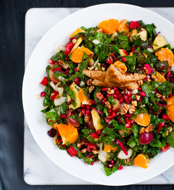 Salads For Christmas  Christmas Tree Salad Pomegranate Pecans Raw Chard