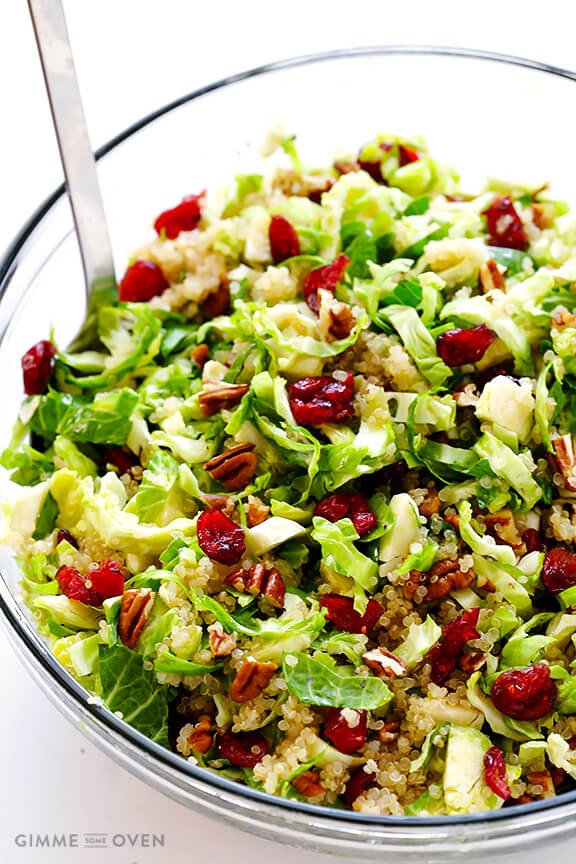 Salads Recipes For Thanksgiving  Brussels Sprouts Cranberry and Quinoa Salad