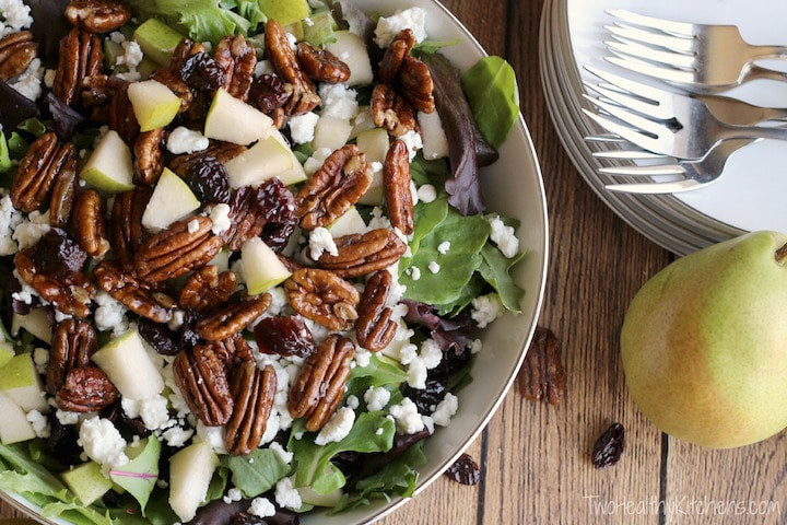 Salads Recipes For Thanksgiving  Salad with Goat Cheese Pears Can d Pecans and Maple
