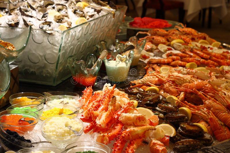 Seafood Christmas Dinners  Christmas seafood buffet stock image Image of shell legs