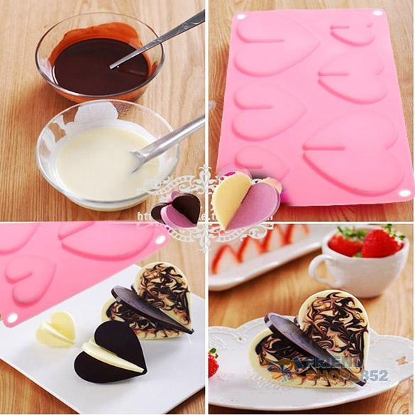 Silicone Christmas Candy Molds  Hearts Love Silicone Chocolate Mold Baking Bakeware Mould