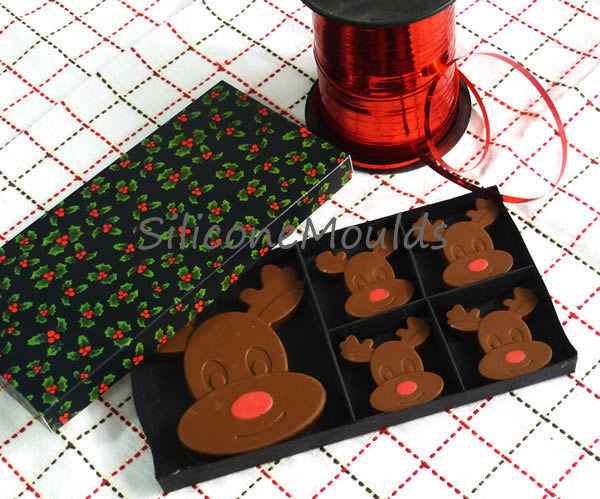 Silicone Christmas Candy Molds  REINDEER RUDOLPH Christmas Chocolate Silicone Bakeware
