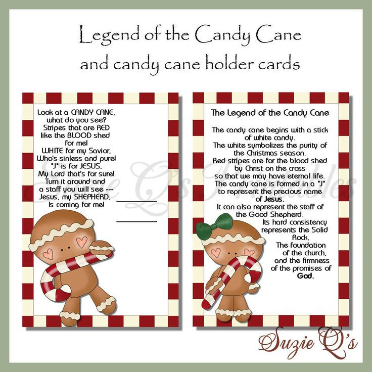 Story Of The Candy Cane At Christmas  Legend of the Candy Cane Card Digital Printable