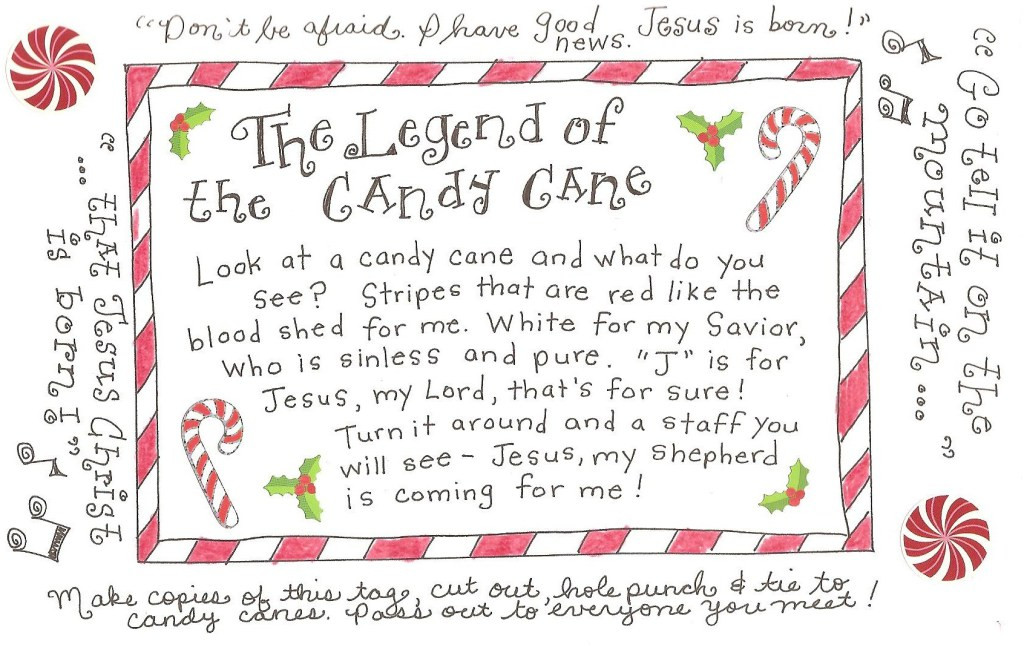 Story Of The Candy Cane At Christmas  The Legend of the Candy Cane FREE Printable Tag Happy