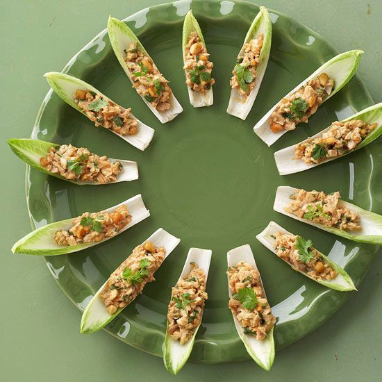 Thanksgiving Appetizers Make Ahead  Endive Chicken Boats