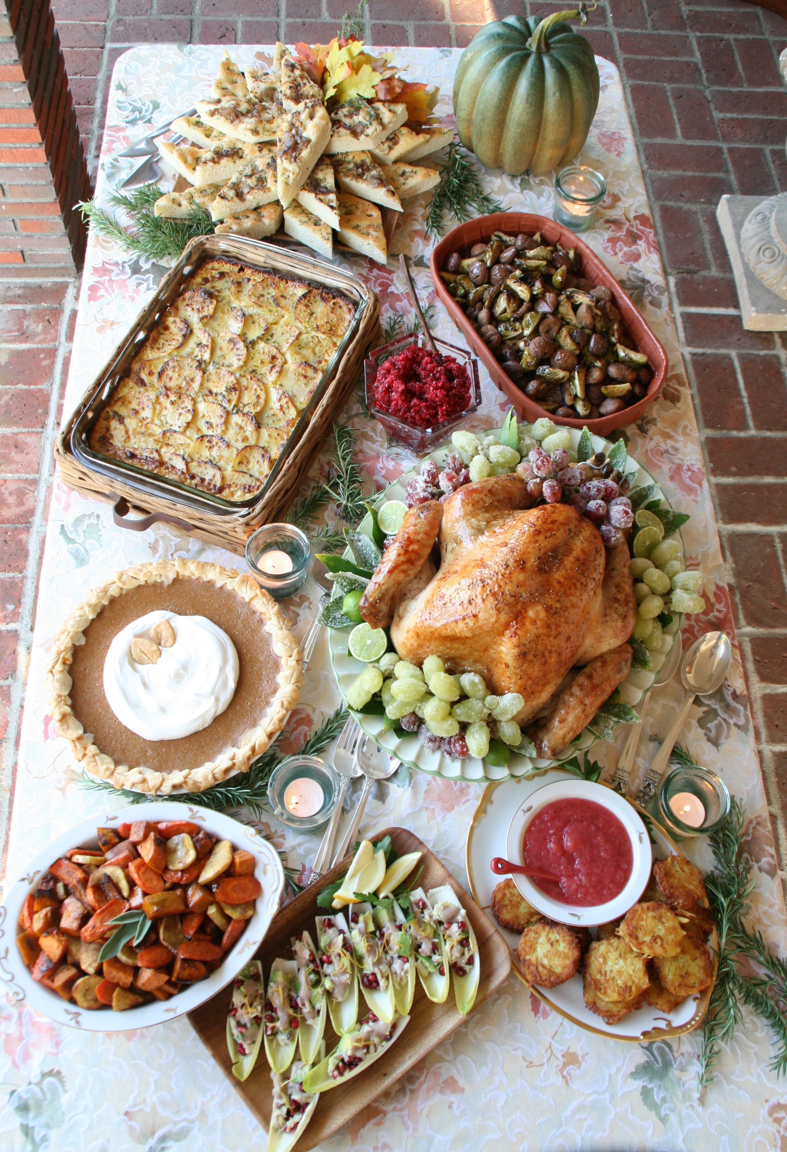 Thanksgiving Dinner Food  Garlic and Herb Potato Gratin and a Foo Thanksgiving