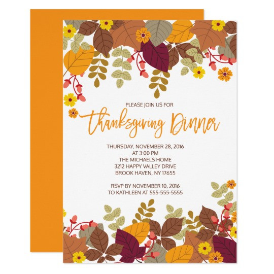 Thanksgiving Dinner Invitations  Autumn Leaves Thanksgiving Dinner Invite