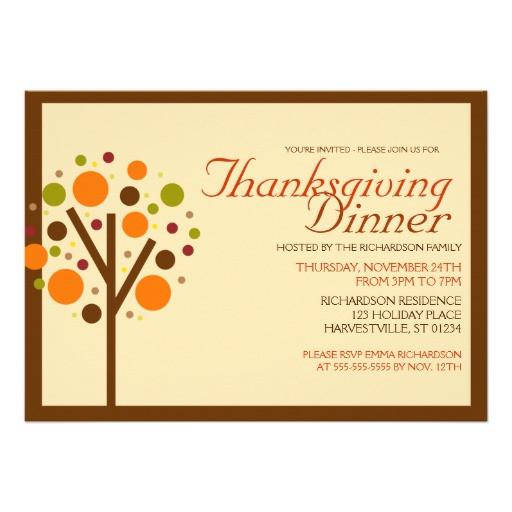 Thanksgiving Dinner Invitations  Thanksgiving Dinner Invitation