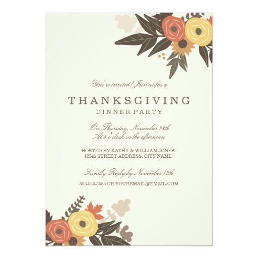 Thanksgiving Dinner Invitations  Fall Foliage Thanksgiving Dinner Invitation Card