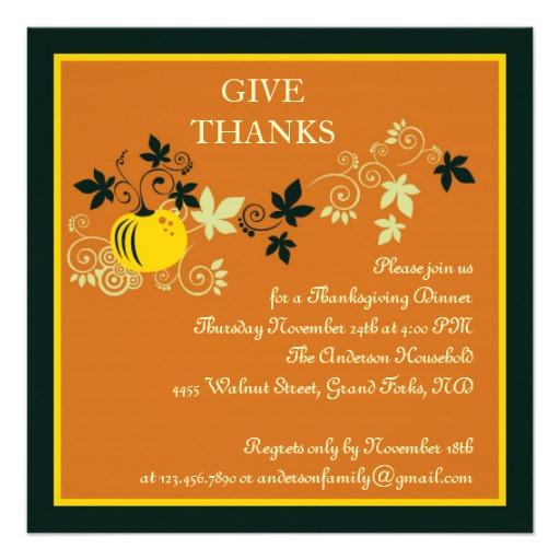 "Thanksgiving Dinner Invitations  Thanksgiving Dinner Harvest Invitation 5 25"" Square"
