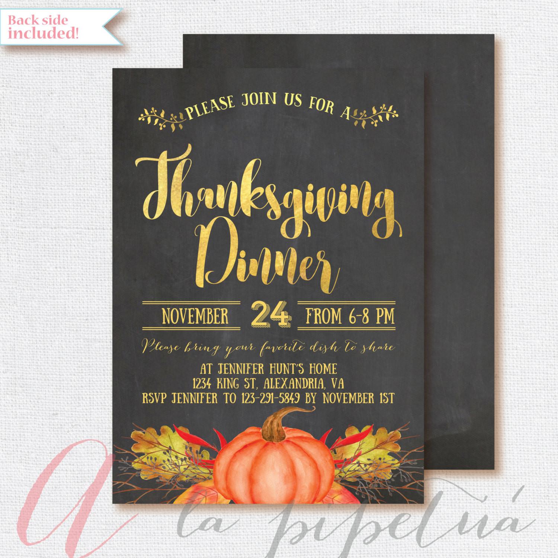 Thanksgiving Dinner Invitations  Thanksgiving invitation Printable Thanksgiving invite
