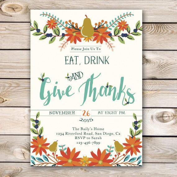 Thanksgiving Dinner Invitations  Thanksgiving Invitation Thanksgiving Dinner Invitation Fall