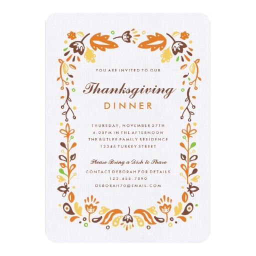 Thanksgiving Dinner Invitations  Autumn Foliage Thanksgiving Dinner Invitations