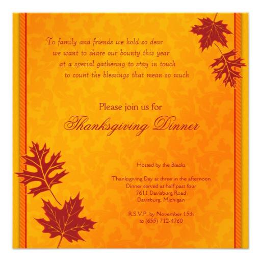 """Thanksgiving Dinner Invitations  Thanksgiving Dinner Invitation 5 25"""" Square Invitation"""