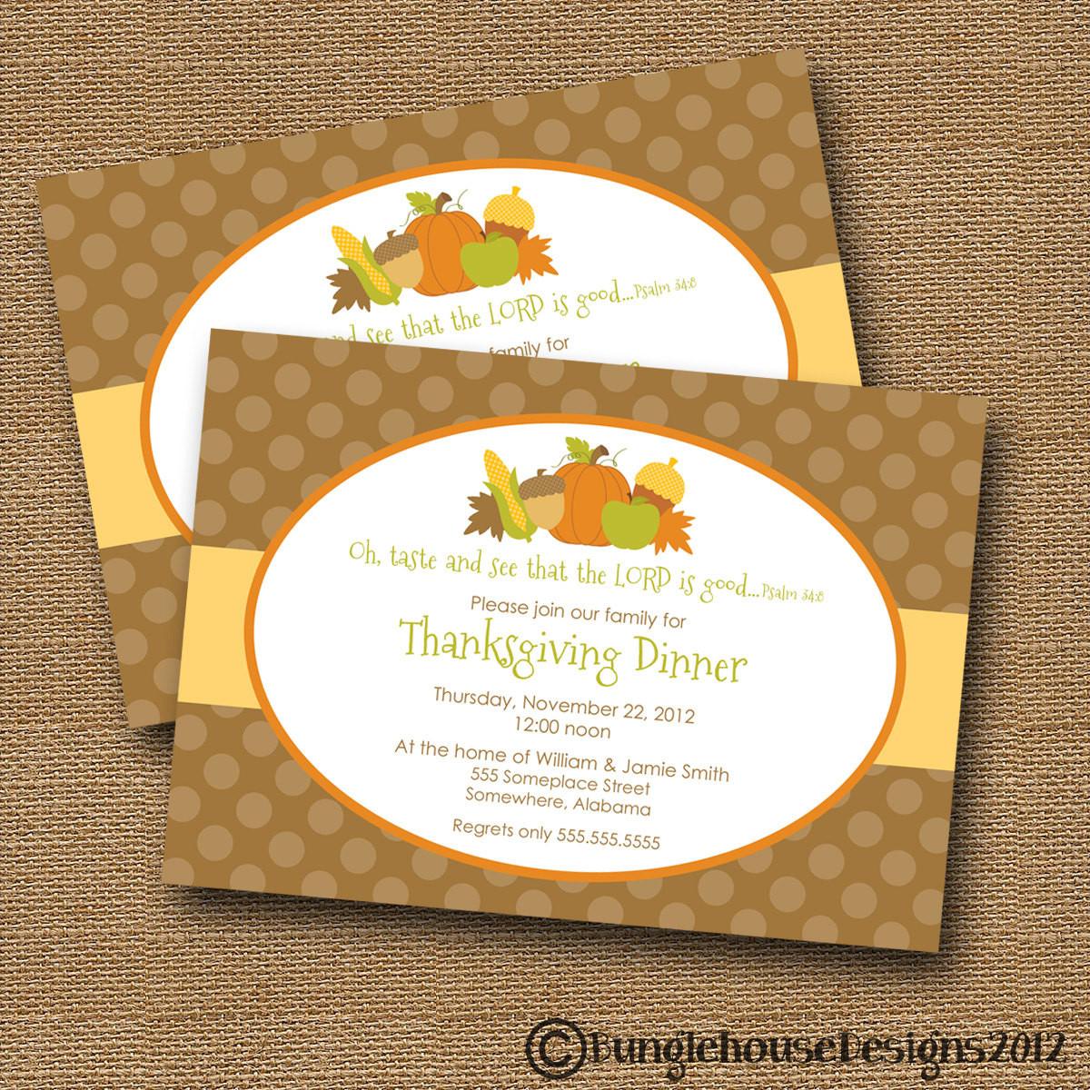 Thanksgiving Dinner Invitations  Thanksgiving Dinner Invitation DIY PRINTABLE Taste