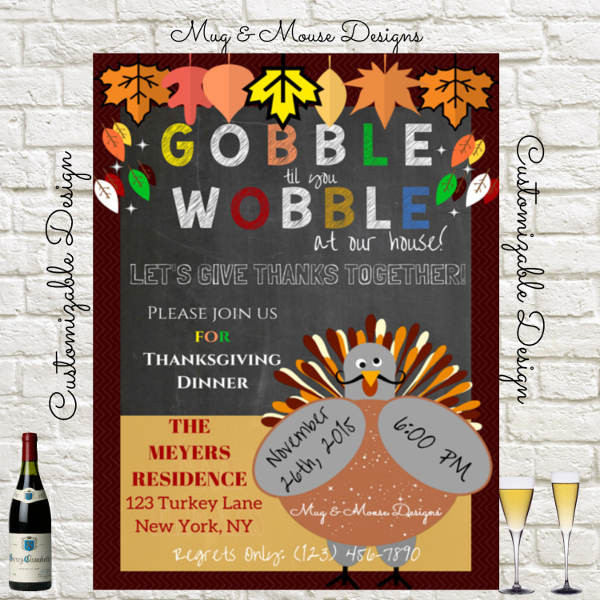 Thanksgiving Dinner Invitations  62 Printable Dinner Invitation Templates PSD AI Word