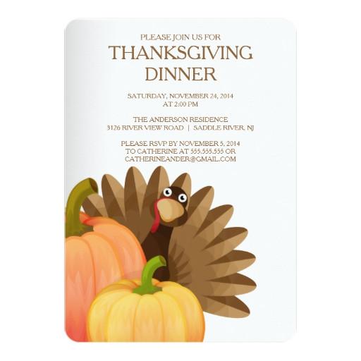 Thanksgiving Dinner Invitations  Turkey Thanksgiving Dinner Party Invitation
