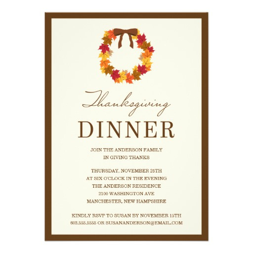 Thanksgiving Dinner Invitations  FALL WREATH IN BROWN