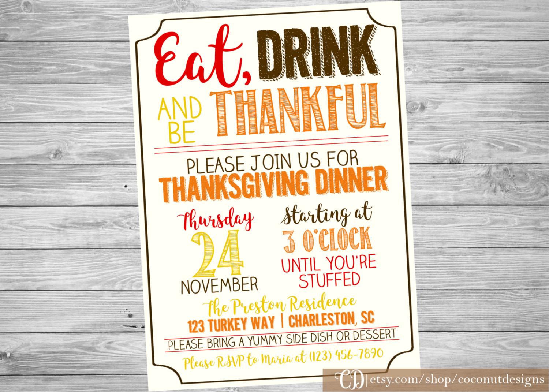 Thanksgiving Dinner Invitations  Thanksgiving Dinner Invitation Thanksgiving Invitation