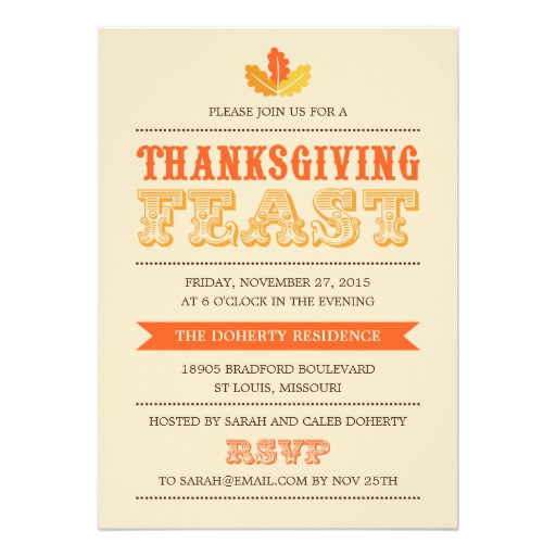 Thanksgiving Dinner Invitations  Modern Feast Thanksgiving Dinner Invitation Invite