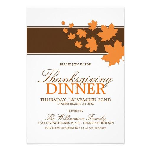 "Thanksgiving Dinner Invitations  Autumn Maples Thanksgiving Dinner Invitations 5"" X 7"