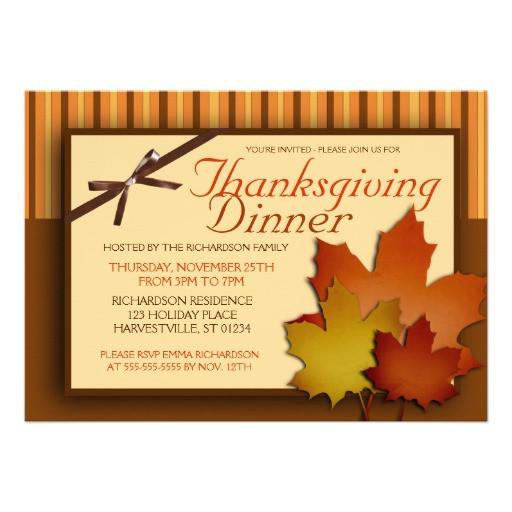 Thanksgiving Dinner Invitations  Thanksgiving Dinner 5x7 Paper Invitation Card