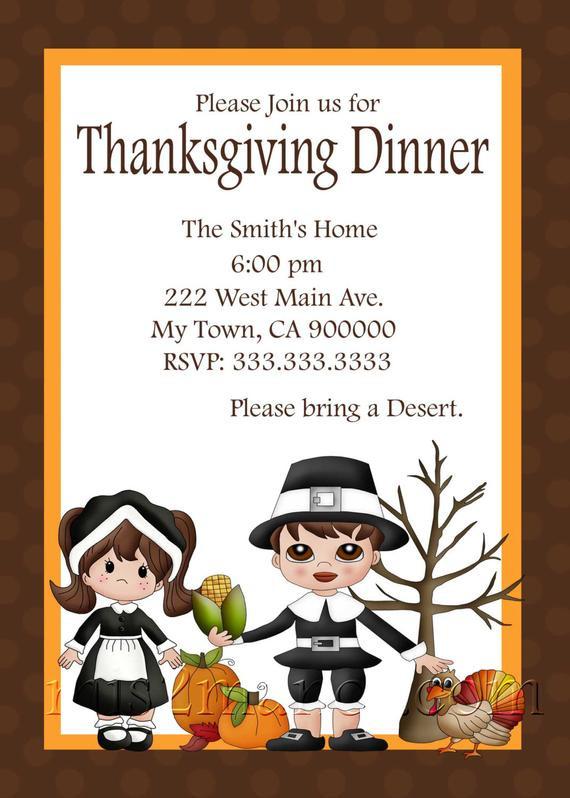 Thanksgiving Dinner Invitations  Thanksgiving Dinner Invitation diy Printable Party Invites