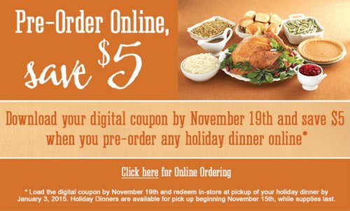 Thanksgiving Dinner Order  $5 f Kroger Holiday Dinner When You Pre Order