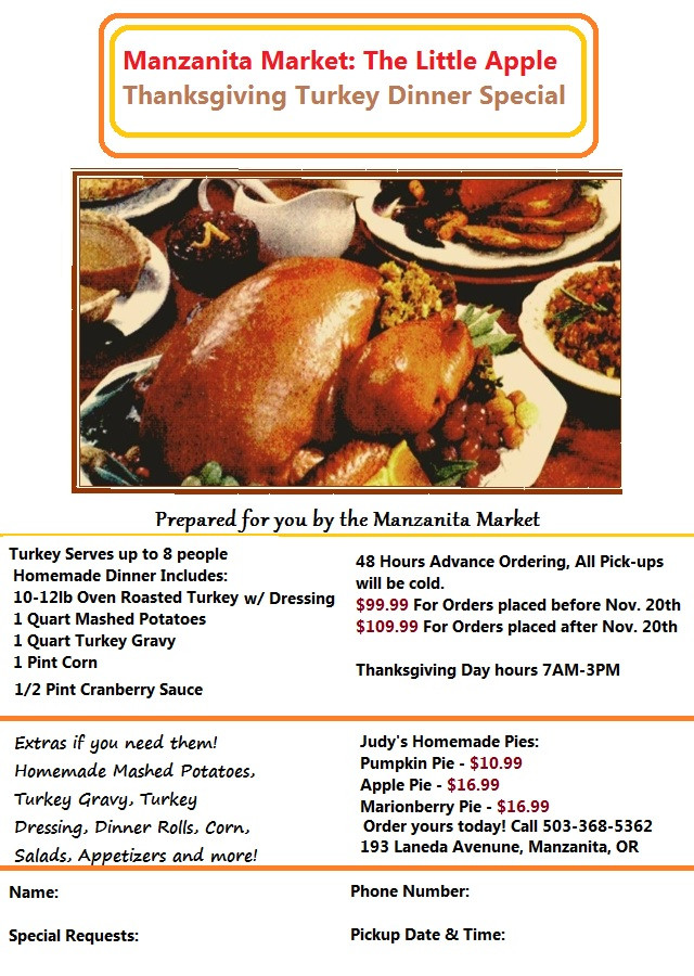 Thanksgiving Dinner Order  Thanksgiving Turkey Orders & Our 2014 Dinner Flyer