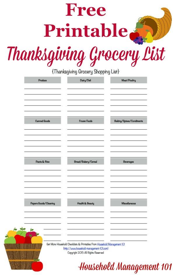 Thanksgiving Dinner Shopping List  Printable Thanksgiving Grocery List & Shopping List