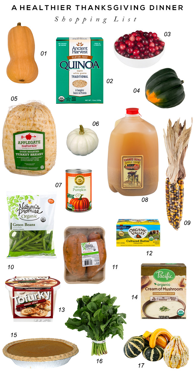 Thanksgiving Dinner Shopping List  Bubby and Bean Living Creatively A Healthier