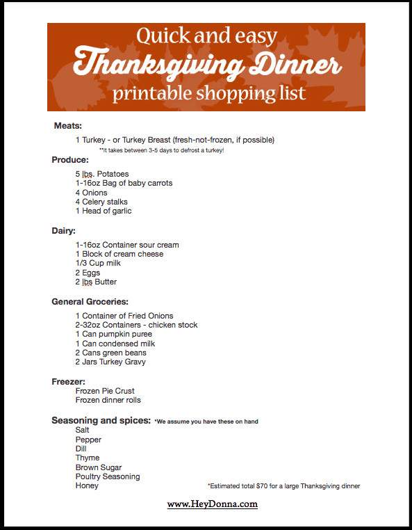 Thanksgiving Dinner Shopping List  Easy Thanksgiving Meal Planned For You Hey Donna