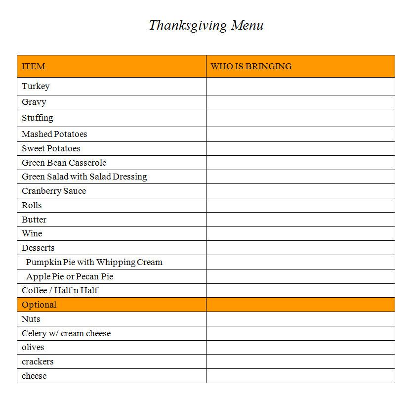 Thanksgiving Dinner Shopping List  Kim Kasch Blogsite A Writer s Blog Grocery List for