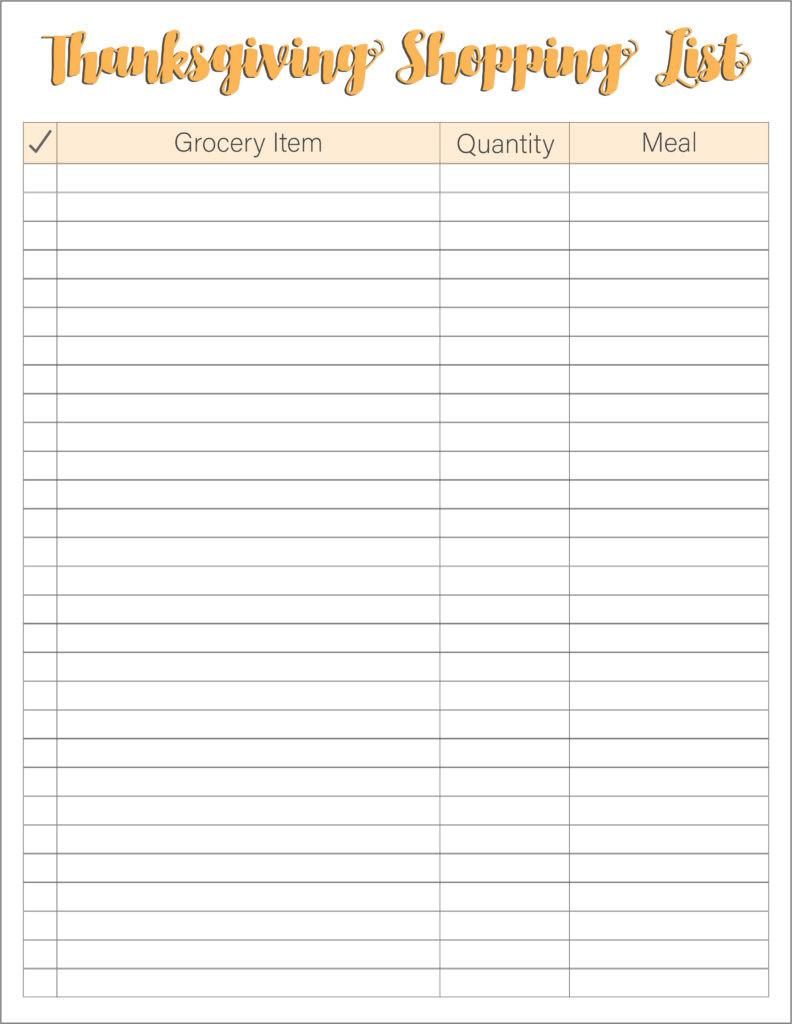 Thanksgiving Dinner Shopping List  Thanksgiving Meal Planners & Shopping List Printables