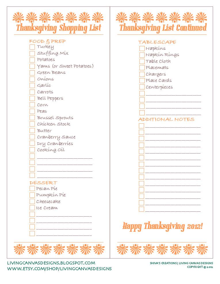 Thanksgiving Dinner Shopping List  SHIVA S CREATIONS LIVING CANVAS DESIGNS Free Printable