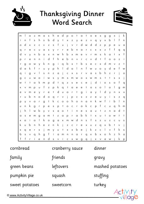Thanksgiving Dinner Word Whizzle Search  Thanksgiving Dinner Word Search