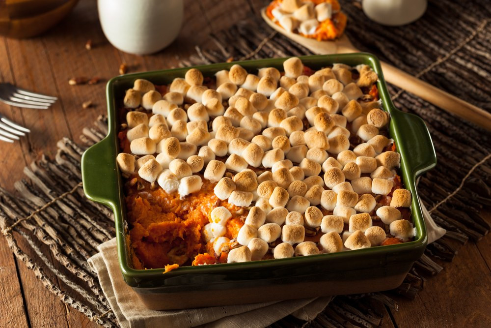 Thanksgiving Sweet Potatoes  Brown Sugar Glazed Sweet Potatoes with Marshmallows recipe