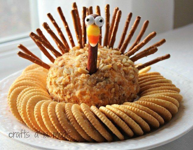 Thanksgiving Turkey Cheese Ball  Over 30 Thanksgiving Crafts & Food Crafts for a Kid