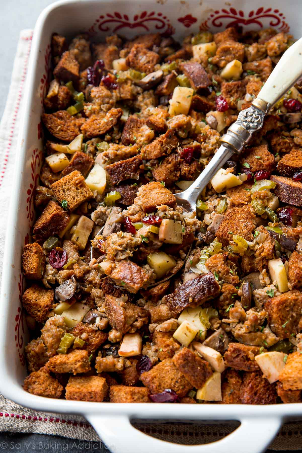 Thanksgiving Turkey Dressing  Herbed Sausage Cranberry and Apple Stuffing Sallys