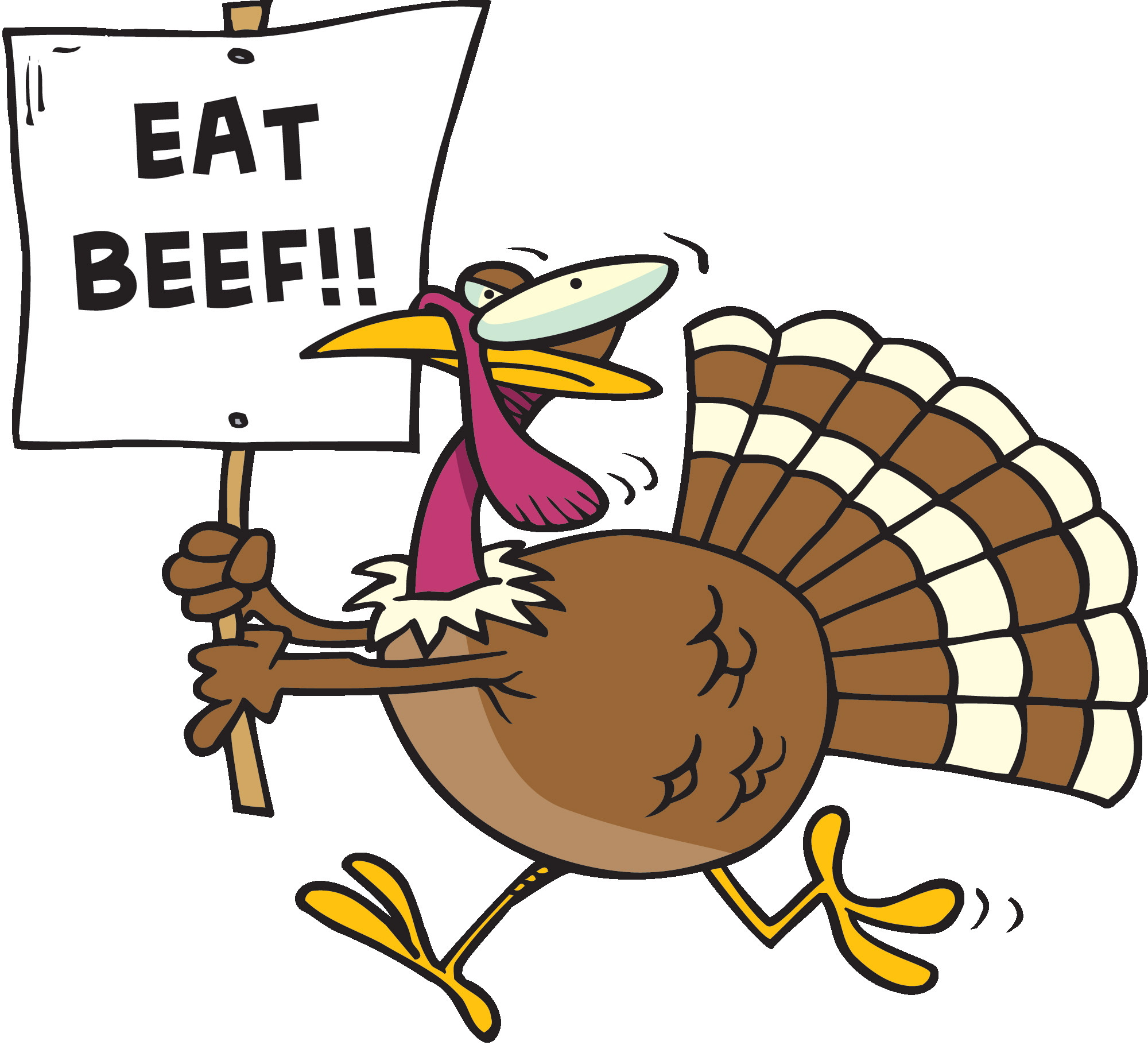 Thanksgiving Turkey Pictures Free  Eat Beef Funny Turkey Clipart Image