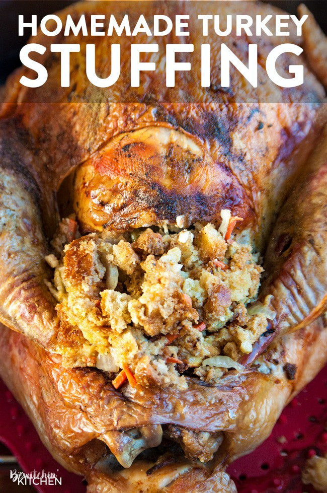 Thanksgiving Turkey Recipe With Stuffing  Homemade Stuffing Recipe