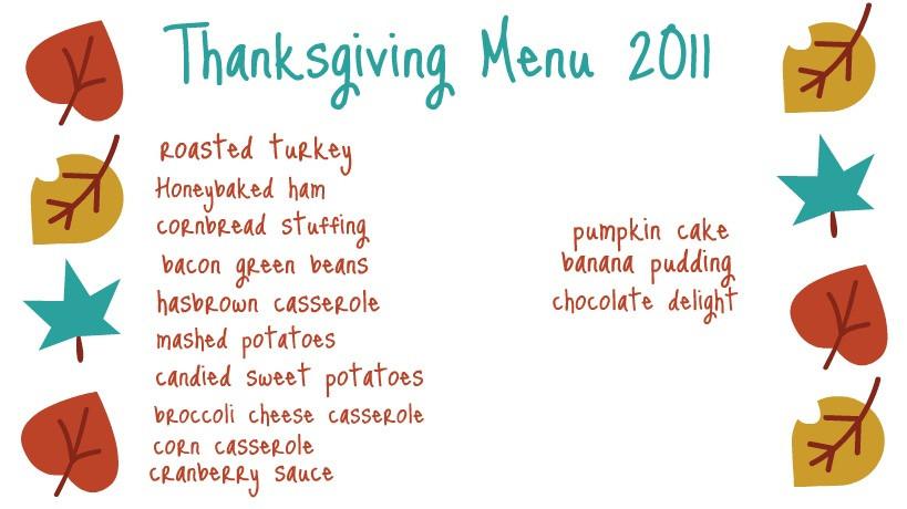Traditional Thanksgiving Dinner Menu List  Ten June Our Thanksgiving Menu