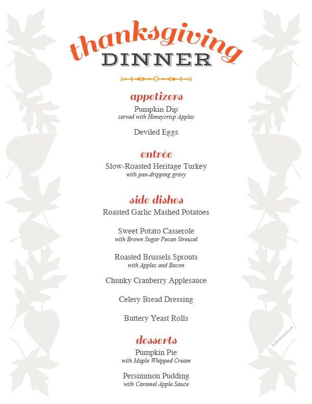 Traditional Thanksgiving Dinner Menu List  thanksgiving menu printable holiday recipe roundup