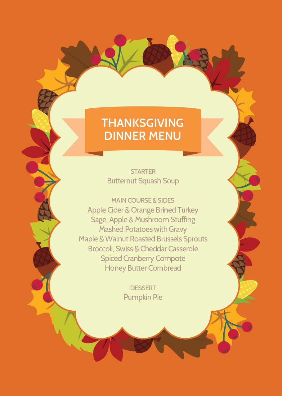 Traditional Thanksgiving Dinner Menu List  Easy and Tasty Thanksgiving Dinner Menu Recipes and